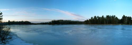 blue trees winter sunset lake green ice water river twilight mapleriver