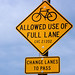 Bicycles allowed use of full lane sign