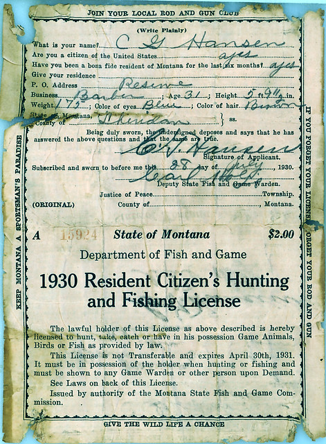 1930 montana hunting fishing license 2 flickr photo for Buy texas fishing license online