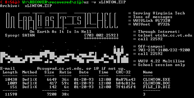 On Earth As It Is In Hell - ASCII zip comment made from ANSI login screen