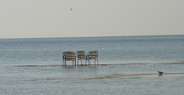 Lawn Chairs on Sand Ledge at Bay St. Louis MS