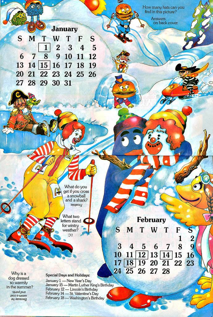 Mcdonaldland Fun Times 1985 Calendar Jan Feb Flickr