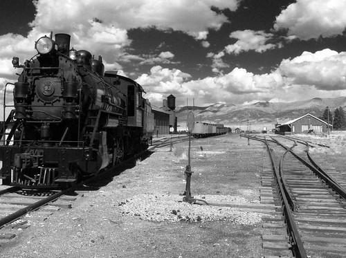 sky bw clouds landscape lumix nevada trains roadtrip steam mining ely railroads highway50