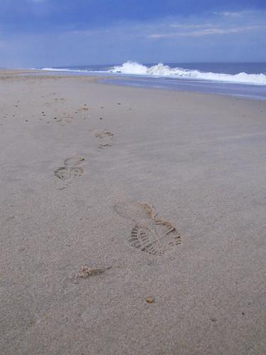 ocean life blue sky beach water walking reflecting sand waves quiet footprints peaceful lewesrat thinking footsteps delaware atlanticocean rehobothbeach onthe shortness ofones