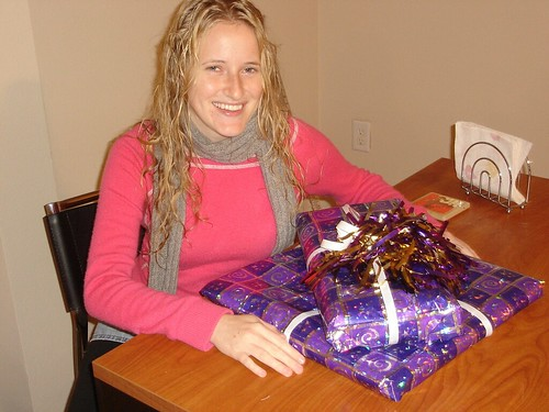Liz and her most beautifully wrapped present