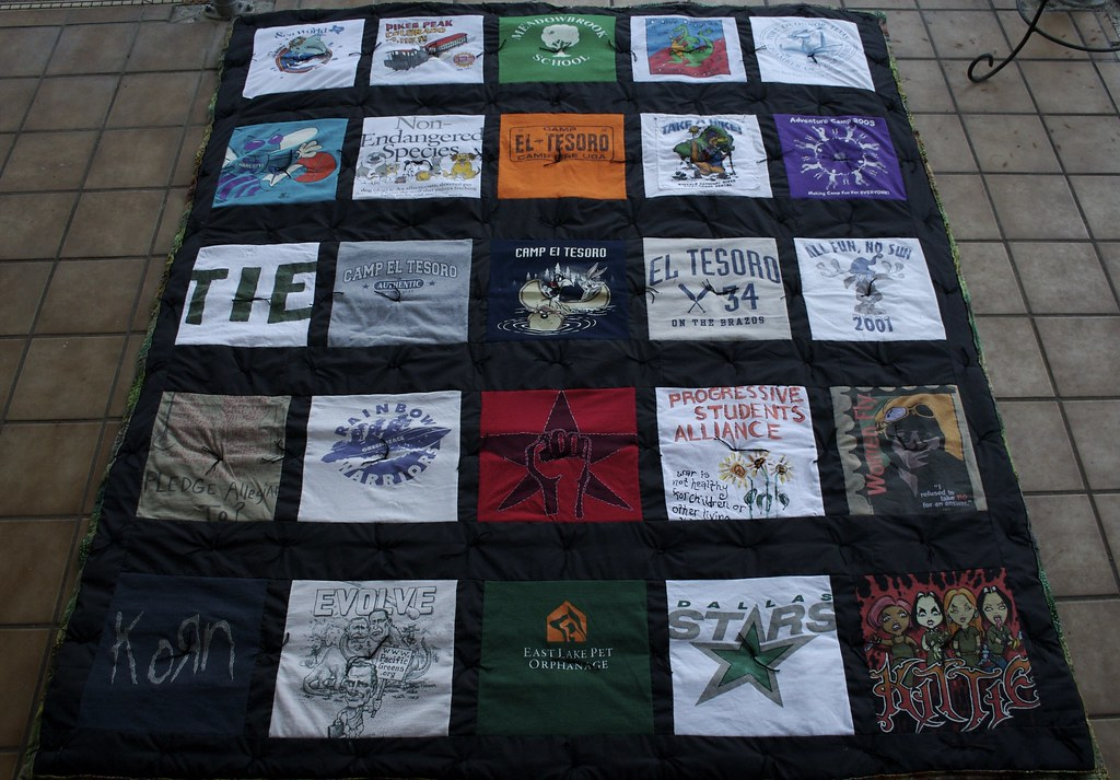 making a quilt out of t shirts - out of t shirts