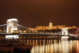 The Szechenyi Chain Bridge and Royal Palace (Buda Castle), Budapest, Hungary