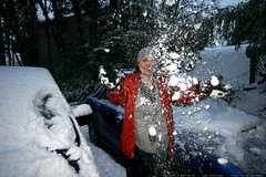 rachel launches snow in the driveway    MG 9254