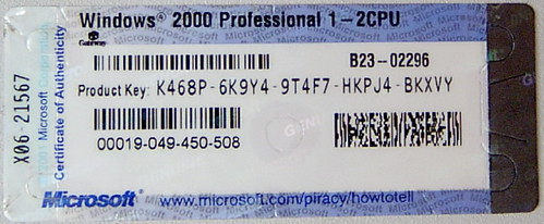 Product key for windows 2000