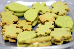 green tea cookies with white chocolate ganache filling