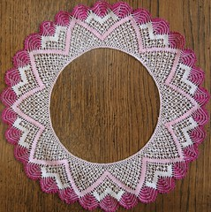 art, textile, needlework, doily, crochet, circle, pink,