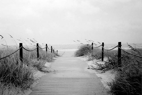 Tropical Storm Charlie: Beach Access (B&W) S.E. 53rd St Oak Island