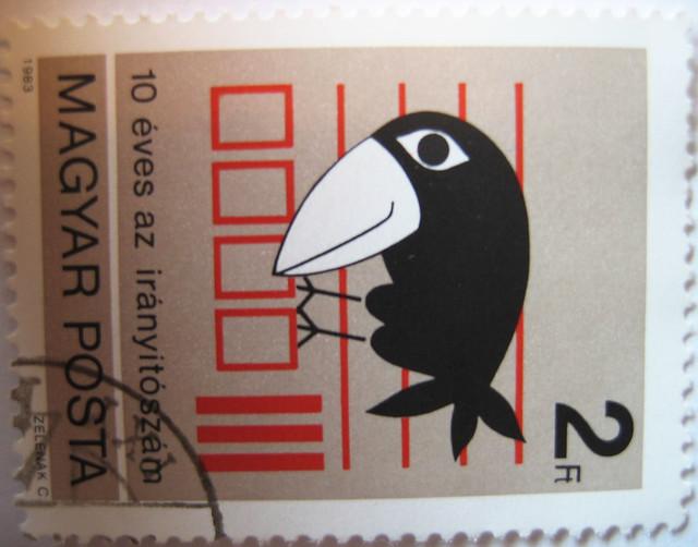 Crow bird stamp