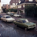 Cars along street in Holland, 1973