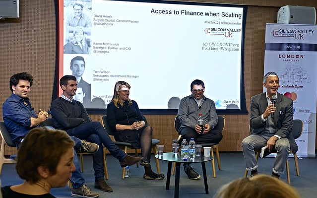 Anthony Eskinazi @eski009, Tom Wilson @tom_wils, Karen McCormick CIO Beringea, @DavidHornik August Capital w/ @NicholasHeller Fractal Labs SCV2UK Masterclass at GoogleCampus Nov2016 from RAW via Phase1_DSC7864
