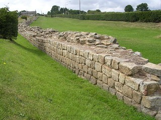 Curtain wall in foreground, ditch beyond