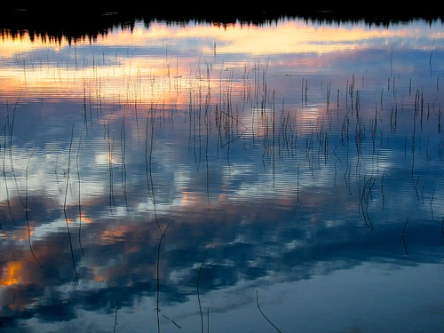 sunset summer lake reflection penttilänmäki
