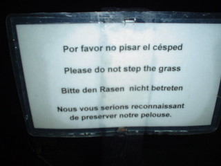 Please do not step the grass