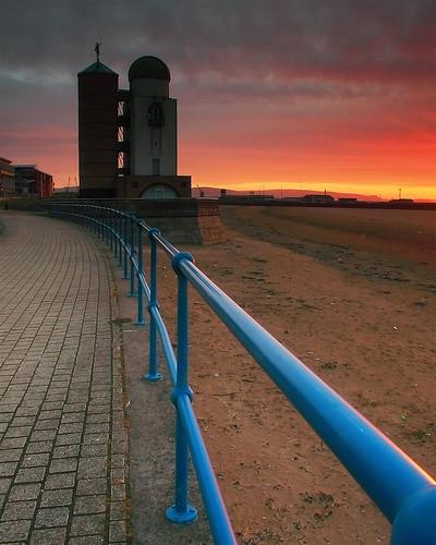 sea sun tower beach water swansea wales sunrise coast sand cymru observatory coastal astronomy abertawe seanbolton toweroftheecliptic ffotocymrucouk ffotocymru