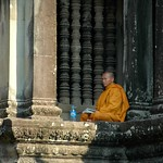 Reading Monk - Angkor, Cambodia