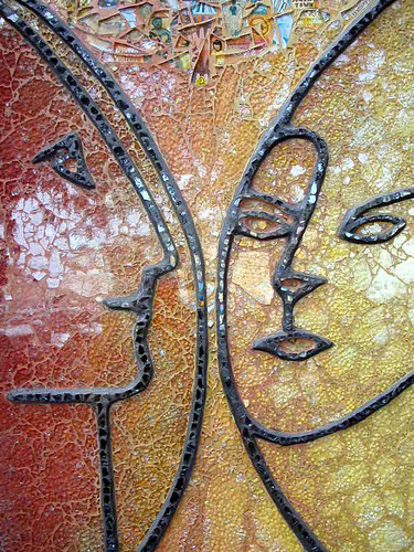 Ellen Blakely tempered glass mosaic tile mural detail - San Francisco