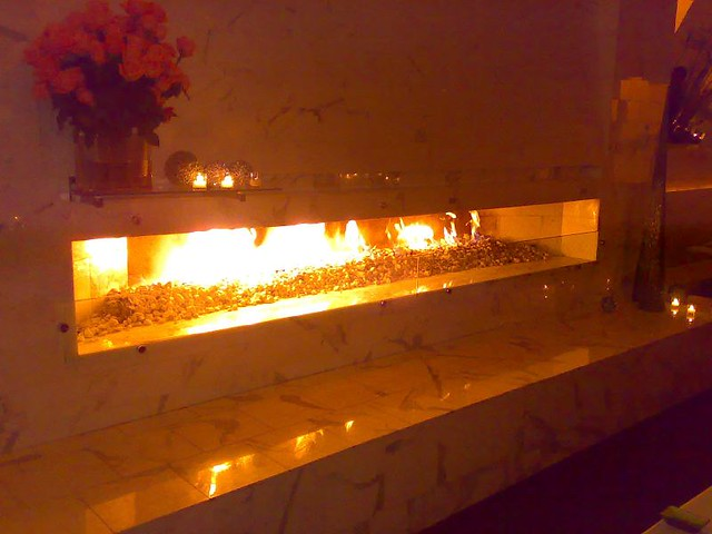 Oya Restaurant Washington Dc 12 Foot Long Fireplace In T