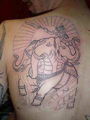 elephant with 3 heads tattoo (Dejavu Tattoo Studio Chiangmai Thailand)