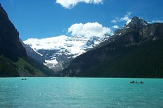 Rowing on the tranquil Lake Louise.