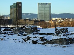 Oslo city centre seen from the medieval church ruins