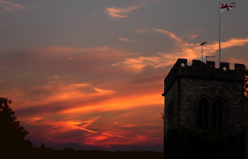 Sunset over the local church...