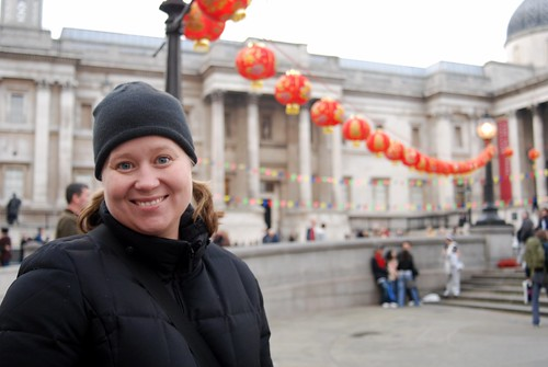 Darcy  with the Chinese Lanterns in Trafalgar Square
