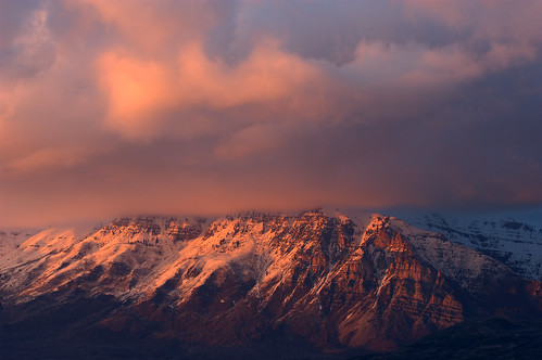 sunset mountain snow clouds march nikon view 10 balcony mount timpanogos d100 2007 my