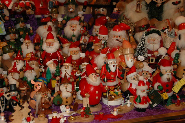 A Sea of Santa Smoking Men at Striezelmarkt - Dresden, Germany