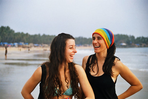 Girls having fun on the beach at Goa.