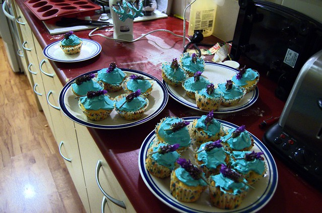 lavendar cupcakes in flourescent blue