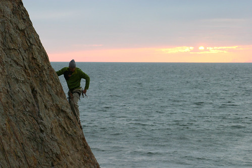 Jay sport climbing at Point Dume
