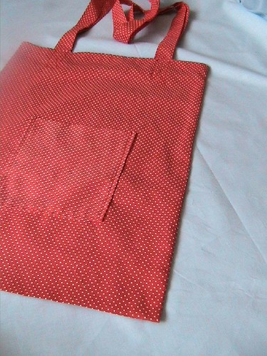Red polka dot shopping bag
