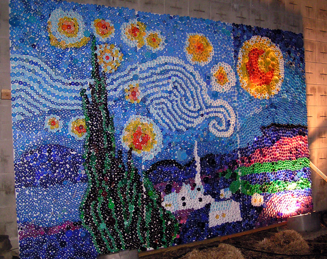 Starry Night Craft Project With Chritmas Lights And Canvas