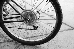 tire, wheel, vehicle, rim, cycle sport, monochrome photography, alloy wheel, monochrome, black-and-white, bicycle wheel, bicycle frame, black, bicycle, spoke, tarmac,