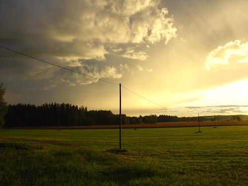 light sunset summer sky nature field clouds finland outdoors powerline porvoo sonydscv1