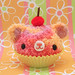 Amigurumi sorbet swirl cupcake bear with cherry on top
