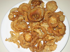 shrimp(0.0), fried prawn(0.0), fish(0.0), seafood(0.0), meat(0.0), produce(0.0), fast food(0.0), frying(1.0), fried food(1.0), vegetarian food(1.0), onion ring(1.0), pakora(1.0), food(1.0), dish(1.0), cuisine(1.0),