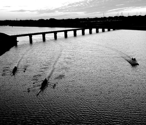 Oklahoma River - rowing - boat- BW 2 crop - jp