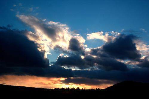 blue sunset red sky cloud landscape 2006