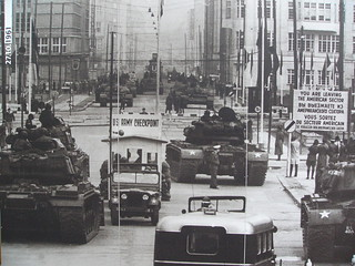 Cold War at Checkpoint Charlie in Berlin