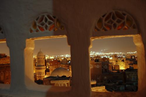travel night hotel cityscape minaret mosque yemen nightview sanaa 2007 manarah arabiafelix イエメン اليمن صنعاء サヌア サナア