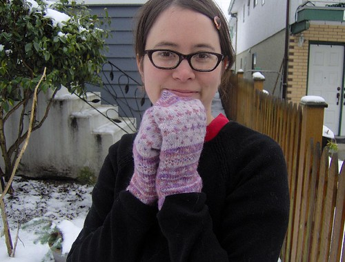 hand dyed traditional mittens - modeled