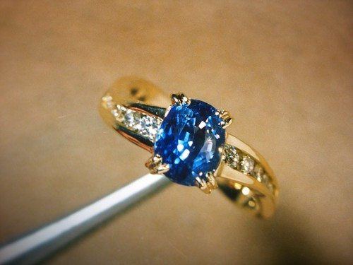 Makeityourring Diamond Engagement Rings With Sapphire Blue Gem