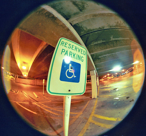 urban sign view angle garage parking wide fisheye m42 handicap 8mm canonae1program reserved circular peleng kodakgold200film wheelchairsign
