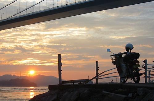 sunset canon geotagged cub powershot shikoku motorcycle 夕日 touring 四国 shimanami カブ geo:lat=34115334 geo:lon=132990524